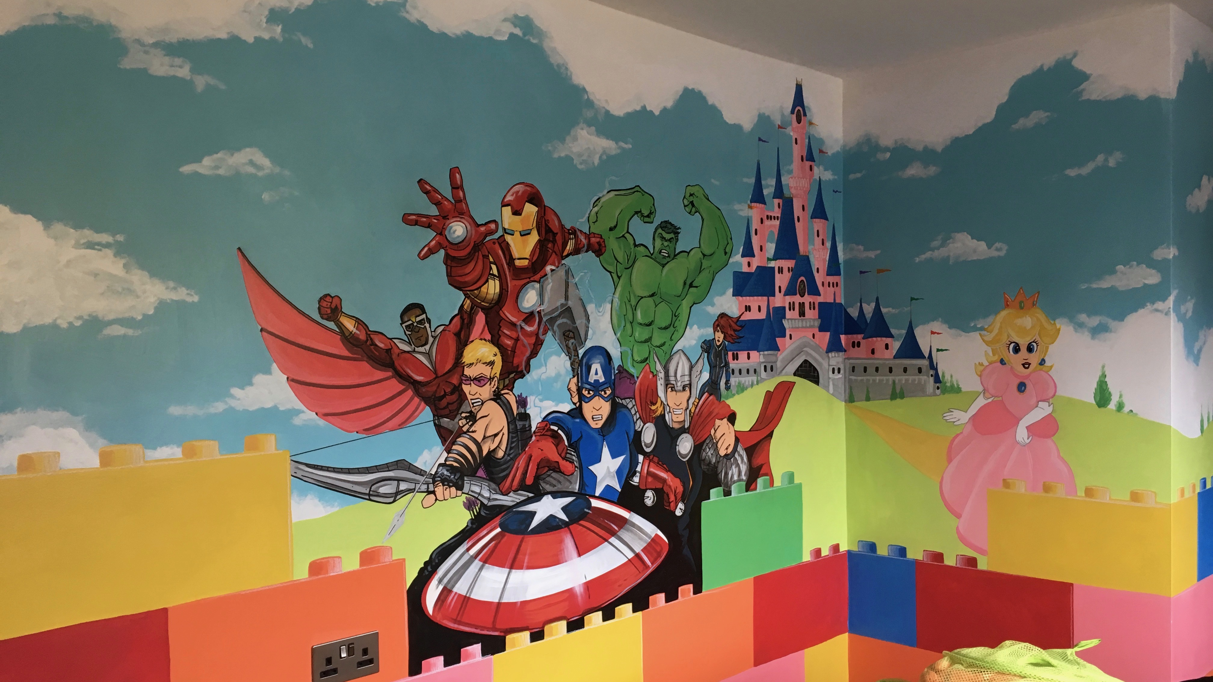 Lego with Avengers Mural