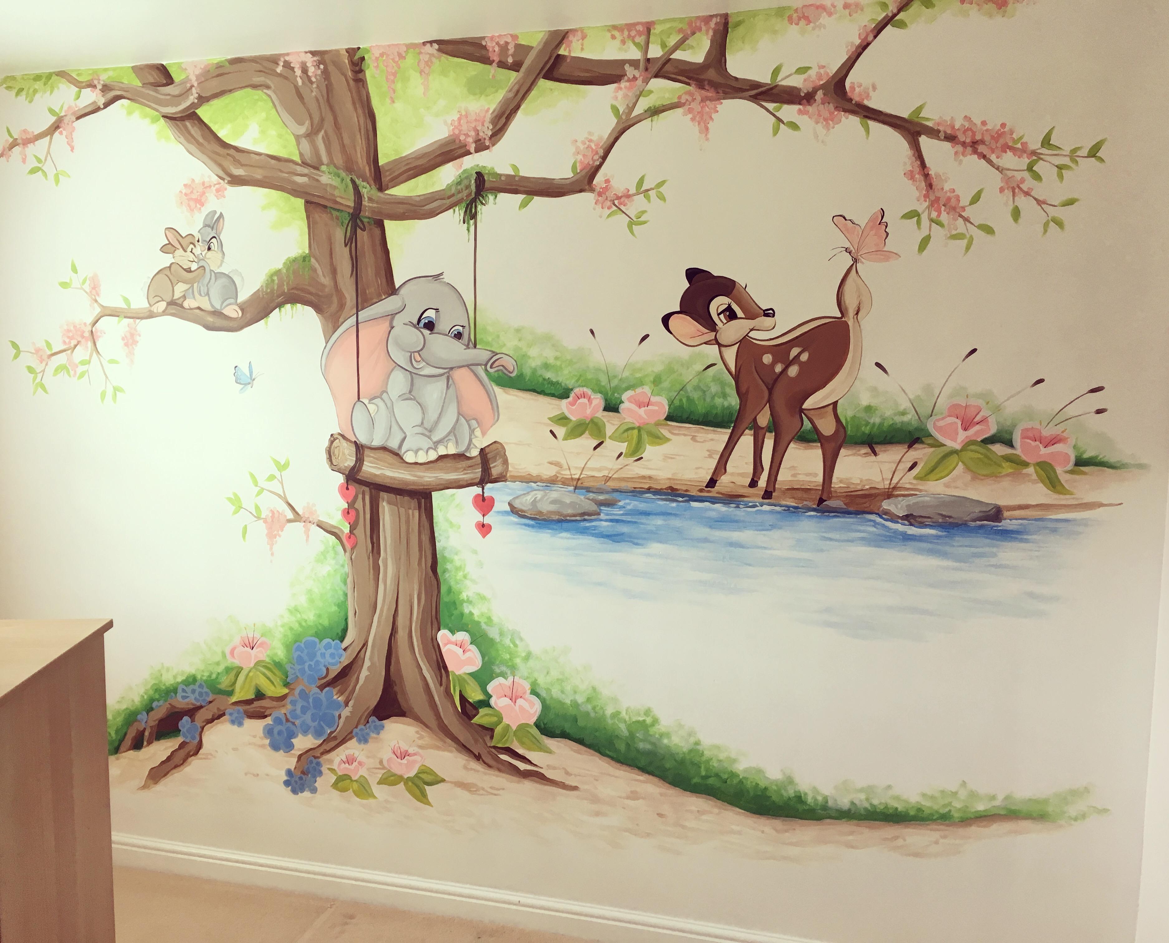 Dumbo & Bambi Nursery Mural