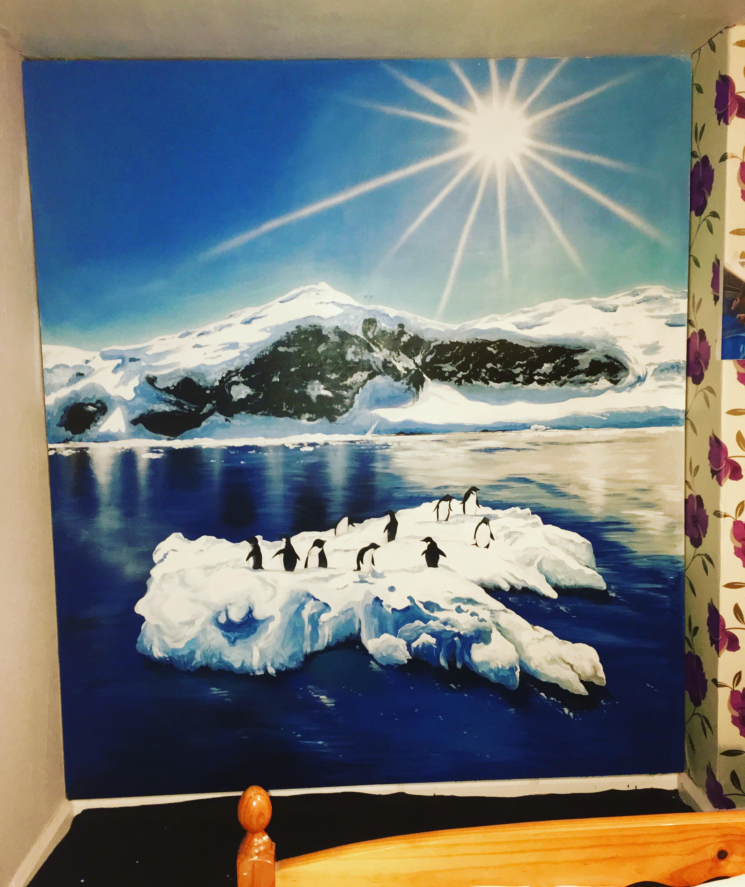 Arctic Sun & Penguins Mural