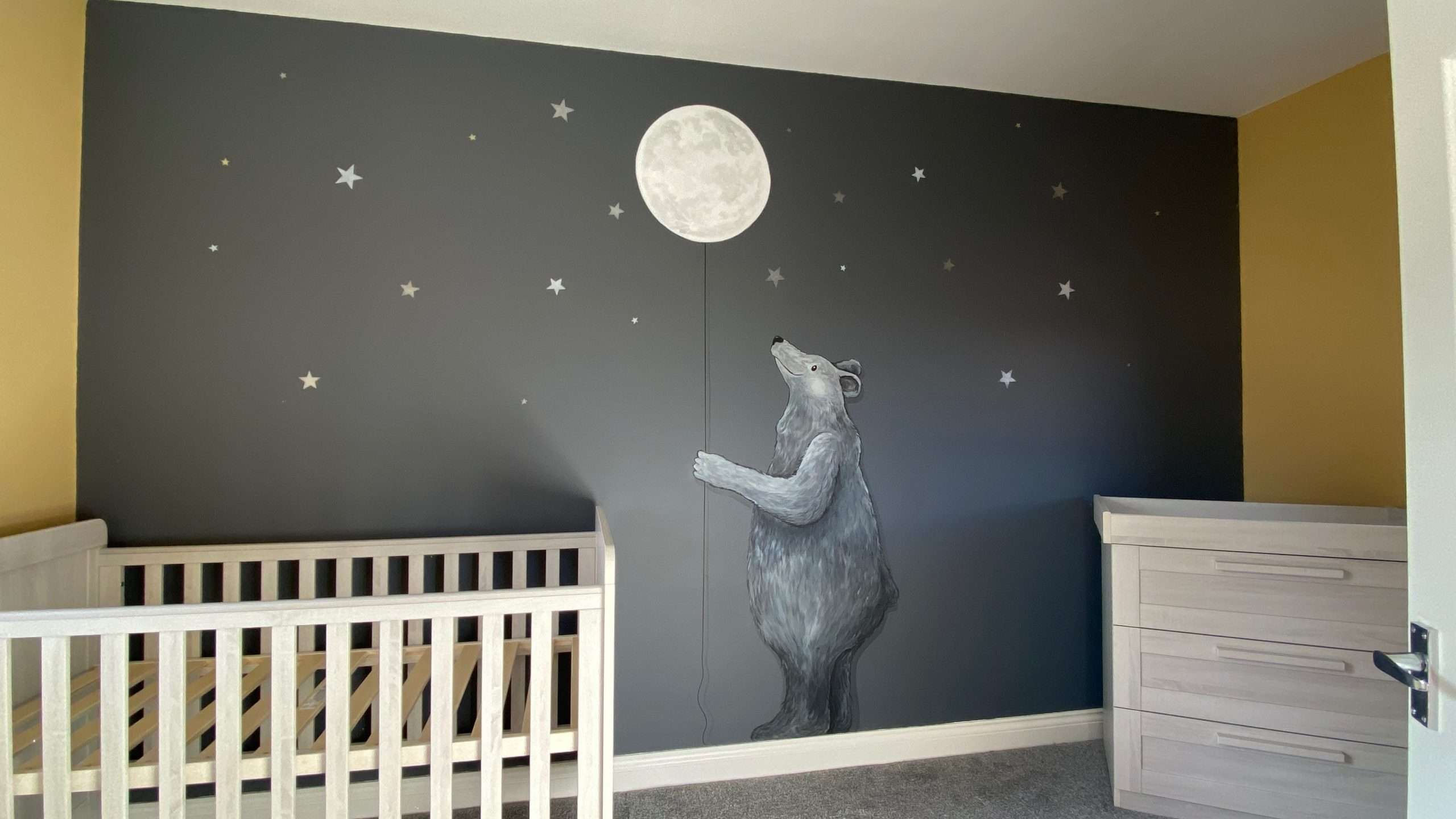Black & White Bear With Moon