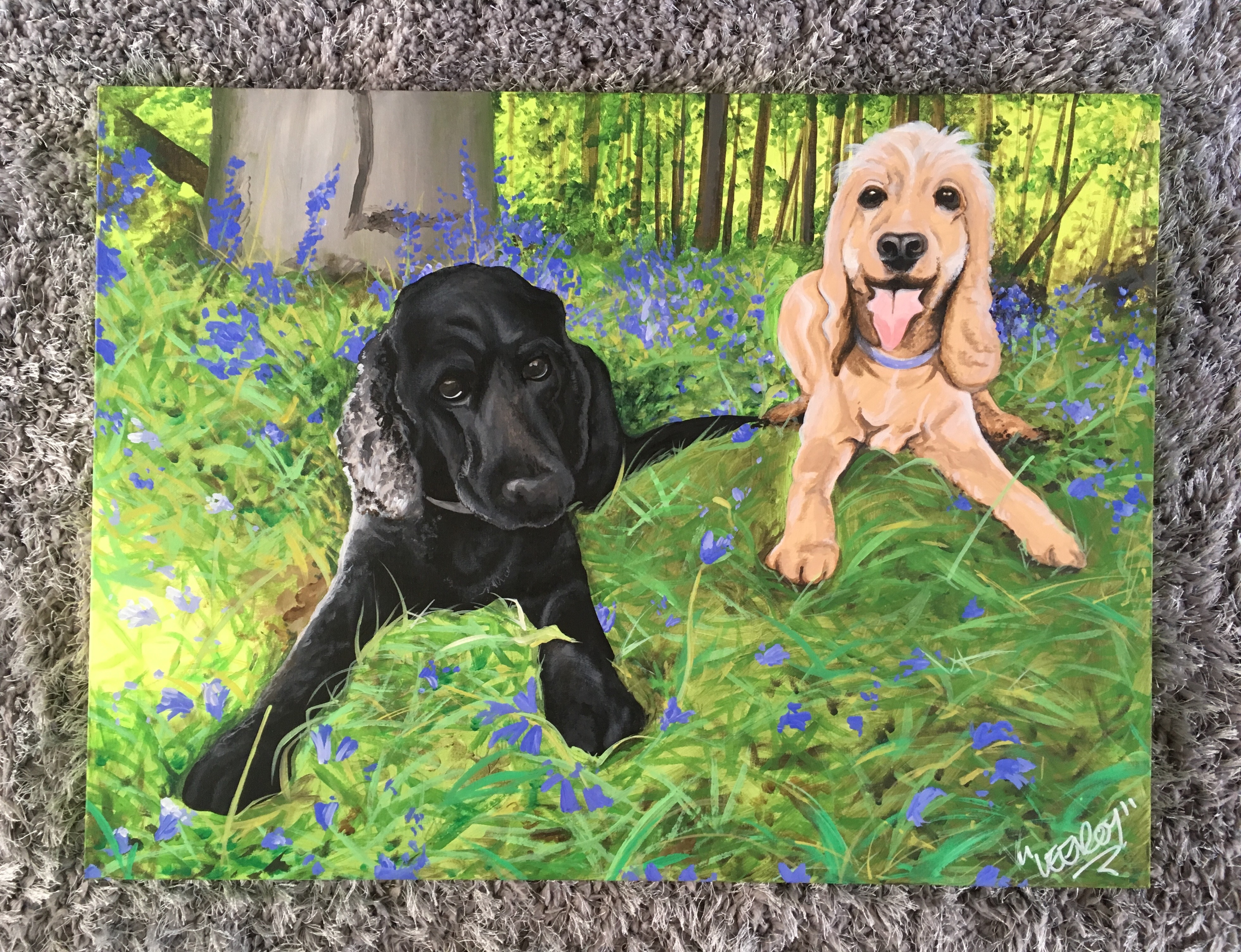 Spaniels with Blue Bells